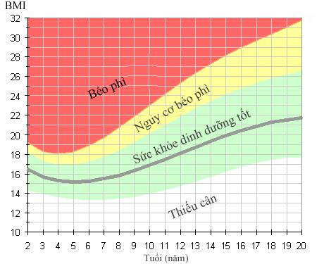 Bảng phân loại chỉ số BMI dành cho trẻ em và thanh niên